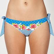 Blue striped floral bunny tie side bikini bottoms