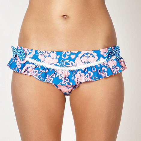 Floozie by Frost French - Blue floral lace frill bikini bottoms