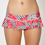 Dark pink striped rose skirted bikini bottoms