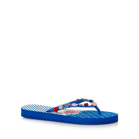 Floozie by Frost French - Blue floral button flip flops