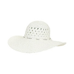 Beach Collection - White metallic thread floppy hat