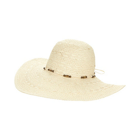 Beach Collection - Natural beaded trim hat