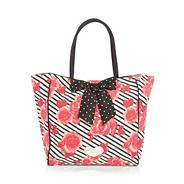 Pink rose printed bow detail beach bag