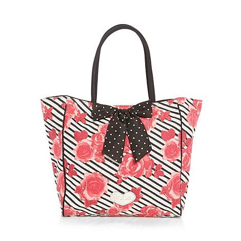 Floozie by Frost French - Pink rose printed bow detail beach bag