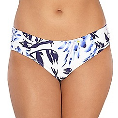 Gorgeous DD+ - White floral ruched side bikini bottoms