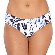 White floral ruched side bikini bottoms