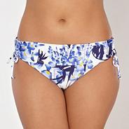White floral fold bikini bottoms