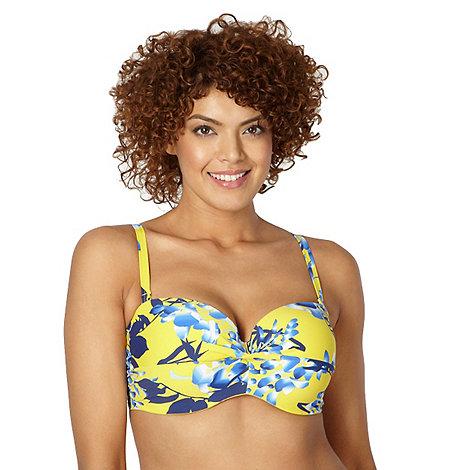 Gorgeous DD+ - Yellow floral twist bandeau bikini top