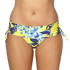 Gorgeous DD+ - Yellow floral shadow bikini fold pants