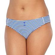 Blue striped scalloped bikini bottoms