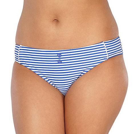 Gorgeous DD+ - Blue striped scalloped bikini bottoms