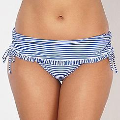 Gorgeous DD+ - Blue striped frill folded bikini bottoms