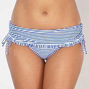 Blue striped frill folded bikini bottoms
