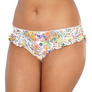 White ditsy floral frill bikini bottoms