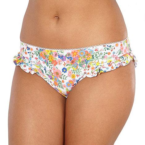 Gorgeous DD+ - White ditsy floral frill bikini bottoms