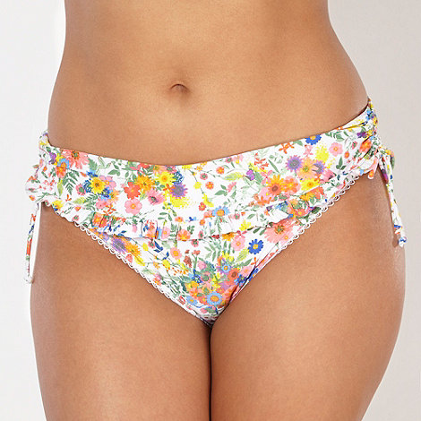 Gorgeous DD+ - White ditsy floral frill folded bikini bottoms
