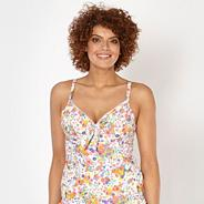 White ditzy floral underwired DD-G tankini top