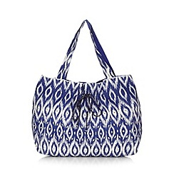 Beach Collection - Dark blue ikat print sequin shopper
