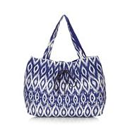 Dark blue ikat print sequin shopper