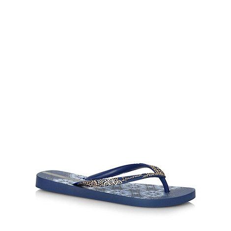 Ipanema - Blue geometric floral flip flops
