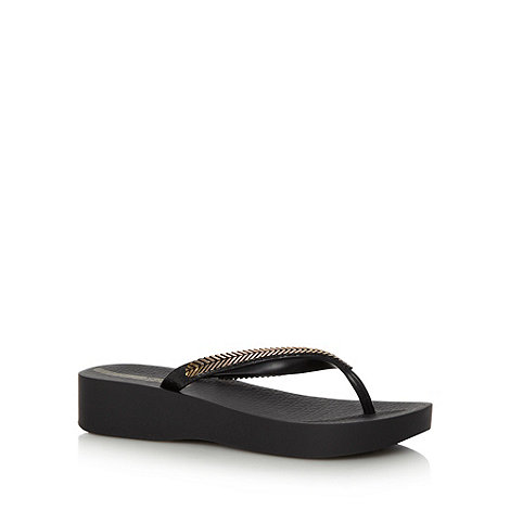 Ipanema - Black mid wedge flip flops