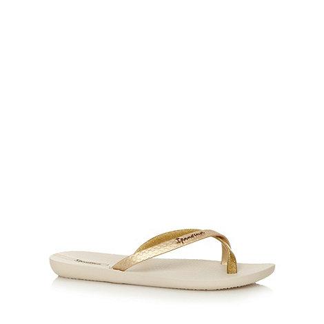 Ipanema - Beige glitter strap flip flops