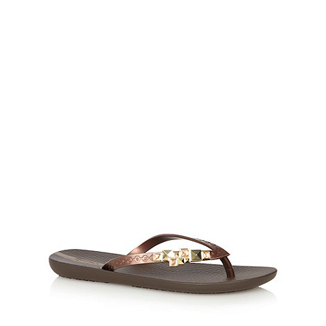 Ipanema - Brown jewel toe post strap flip flops