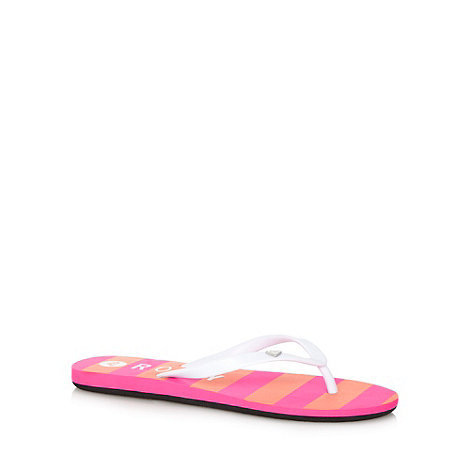 Roxy - Pink neon striped flip flops