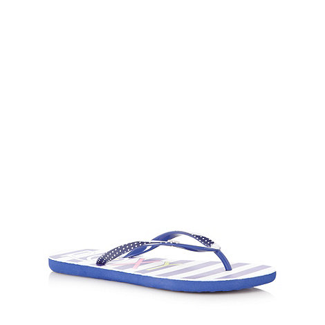 Roxy - Navy striped flip flops