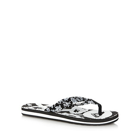 Roxy - Black floral strap flip flops