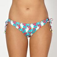 Aqua bird print bikini briefs
