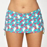 Aqua bird print swim skirt