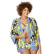 Yellow floral shadow kimono cover up