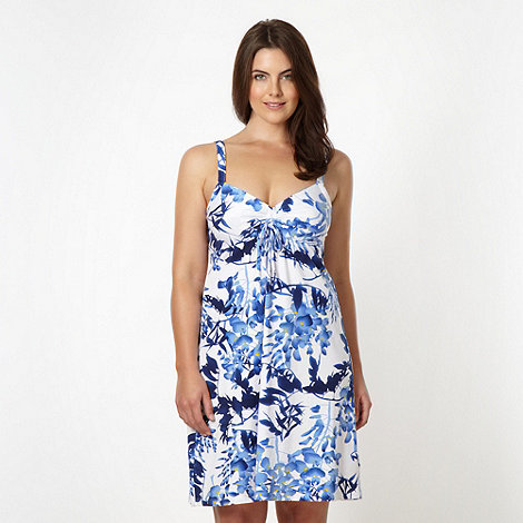 Gorgeous DD+ - White shirred floral beach dress