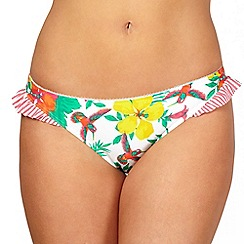 Gorgeous DD+ - White floral hummingbird printed bikini bottoms