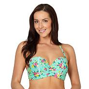 Green striped ditsy print underwired bikini top