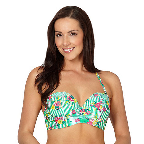 Gorgeous DD+ - Green striped ditsy print underwired bikini top