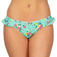 Green striped ditsy print bikini bottoms