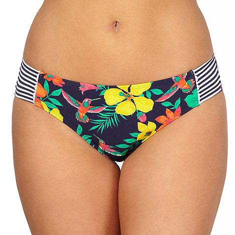 Gorgeous DD+ - Navy floral hummingbird printed bikini bottoms