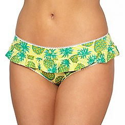 Gorgeous DD+ - Yellow pineapple print frill bikini bottoms