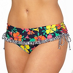 Gorgeous DD+ - Navy floral hummingbird printed fold over bikini bottoms