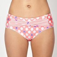 Coral spotted high waisted bikini bottoms