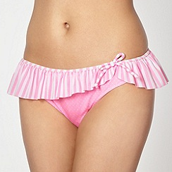 Floozie by Frost French - Designer pink striped frill bikini bottoms