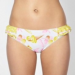 Floozie by Frost French - Yellow ice cream print frilly bikini bottoms