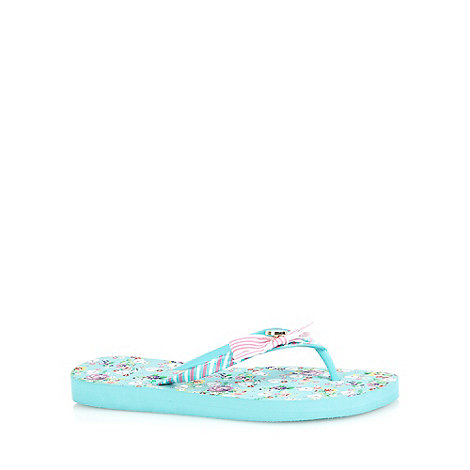 Floozie by Frost French - Turquoise floral bow flip flops