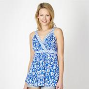 Blue mix and match floral beach top