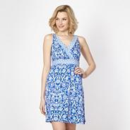 Blue mix and match floral jersey beach dress