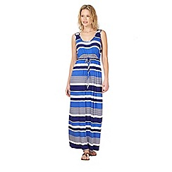 Beach Collection - Blue jersey striped maxi dress
