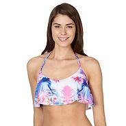 Blue tropical frill bikini crop top