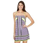 Purple tile print dress